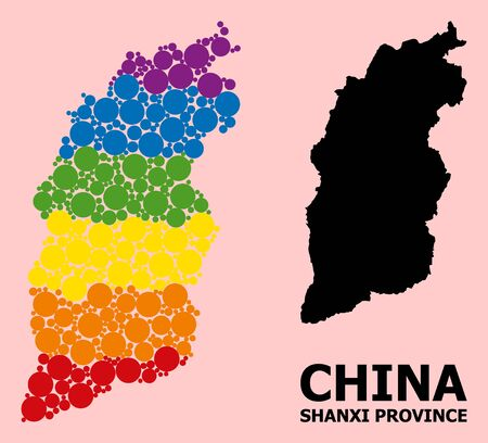 Spectrum colored collage vector map of Shanxi Province for LGBT, and black version. Geographic collage map of Shanxi Province is combined with scattered round spheric spots.