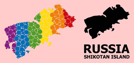 Rainbow colored mosaic vector map of Shikotan Island for LGBT, and black version. Geographic mosaic map of Shikotan Island is done from scattered circle elements. Çizim