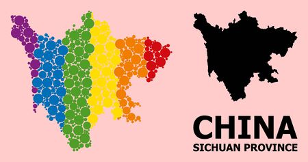 Rainbow vibrant mosaic vector map of Sichuan Province for LGBT, and black version. Geographic mosaic map of Sichuan Province is created with random circle spots.