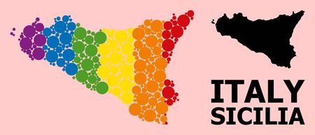 Rainbow colored pattern vector map of Sicilia Island for LGBT, and black version. Geographic concept map of Sicilia Island is created with scattered circle spots.