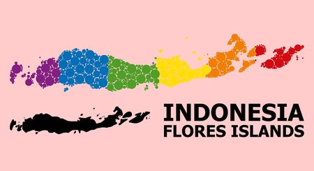 Rainbow vibrant collage vector map of Indonesia - Flores Islands for LGBT, and black version. Geographic concept map of Indonesia - Flores Islands is composed with randomized round spheric dots.