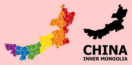 Spectrum vibrant mosaic vector map of Inner Mongolia for LGBT, and black version. Geographic concept map of Inner Mongolia is done from scattered circle spots.