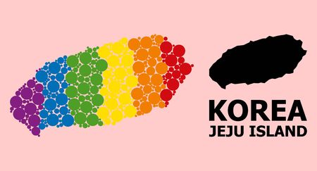 Rainbow vibrant mosaic vector map of Jeju Island for LGBT, and black version. Geographic concept map of Jeju Island is designed with random round spheric spots.