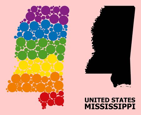 Rainbow vibrant collage vector map of Mississippi State for LGBT, and black version. Geographic concept map of Mississippi State is combined from randomized round spheric dots.