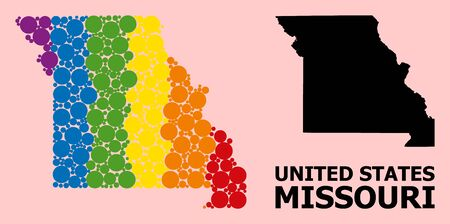 Spectrum colored collage vector map of Missouri State for LGBT, and black version. Geographic collage map of Missouri State is organized with randomized circle dots.