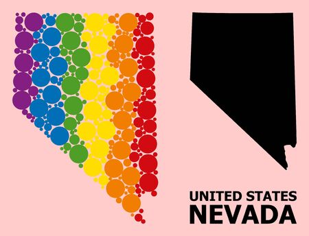 Rainbow vibrant mosaic vector map of Nevada State for LGBT, and black version. Geographic mosaic map of Nevada State is organized with randomized circle spots.