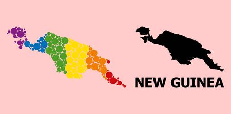 Rainbow vibrant collage vector map of New Guinea Island for LGBT, and black version. Geographic collage map of New Guinea Island is done with randomized round spheric spots.