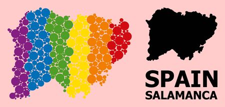 Rainbow colored mosaic vector map of Salamanca Province for LGBT, and black version. Geographic concept map of Salamanca Province is constructed from random circle spots.