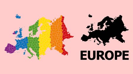 Spectrum colored pattern vector map of Europe for LGBT, and black version. Geographic concept map of Europe is created with scattered round spheric elements.