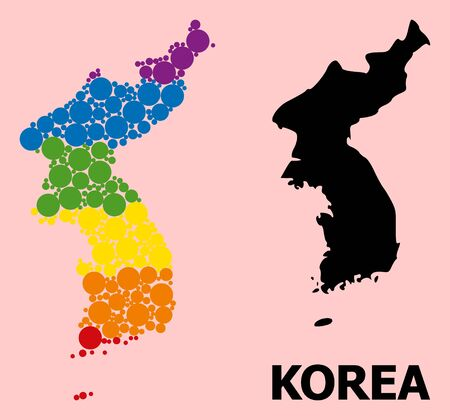 Rainbow colored mosaic vector map of Korea for LGBT, and black version. Geographic concept map of Korea is done from random round spheric elements.