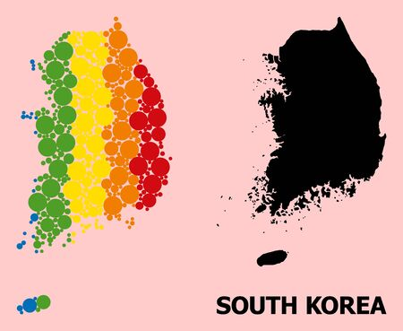 Rainbow colored mosaic vector map of South Korea for LGBT, and black version. Geographic concept map of South Korea is created with scattered circle dots.