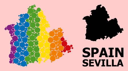 Rainbow vibrant collage vector map of Sevilla Province for LGBT, and black version. Geographic collage map of Sevilla Province is created from random round spheric elements.