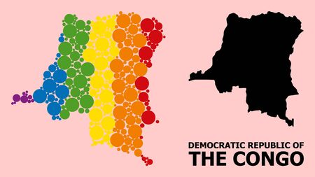 Rainbow vibrant collage vector map of Democratic Republic of the Congo for LGBT, and black version. Vetores