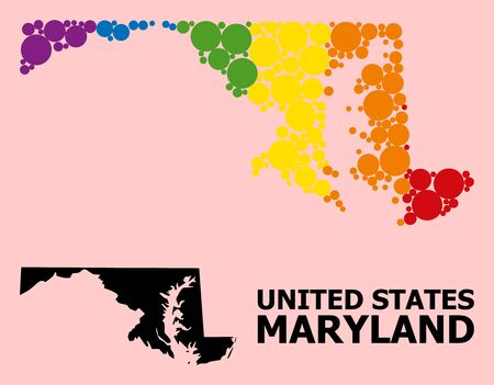 Rainbow colored collage vector map of Maryland State for LGBT, and black version. Geographic collage map of Maryland State is constructed from randomized circle elements. Illustration