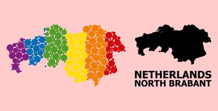 Rainbow colored mosaic vector map of North Brabant Province for LGBT, and black version. Geographic mosaic map of North Brabant Province is constructed from random round spheric elements.