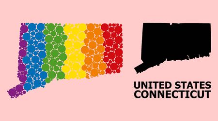 Rainbow colored pattern vector map of Connecticut State for LGBT, and black version. Geographic collage map of Connecticut State is designed with random circle dots. Ilustração