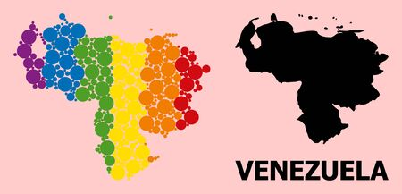 Rainbow vibrant mosaic vector map of Venezuela for LGBT, and black version. Geographic mosaic map of Venezuela is designed from randomized round spheric elements.