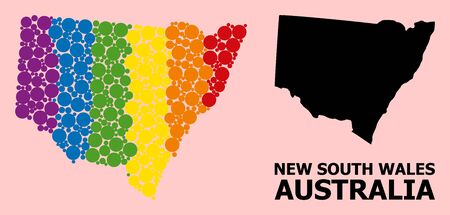 Rainbow vibrant collage vector map of New South Wales for LGBT, and black version. Geographic collage map of New South Wales is constructed from randomized round spheric spots.