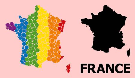Rainbow colored collage vector map of France for LGBT, and black version. Geographic collage map of France is done with random round spheric spots. Ilustração