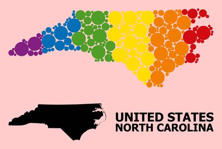 Rainbow colored collage vector map of North Carolina State for LGBT, and black version. Geographic collage map of North Carolina State is organized from random circle dots.