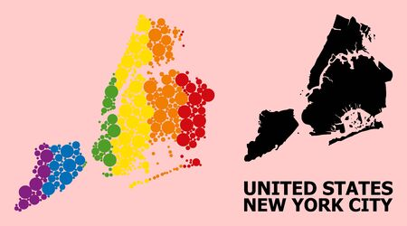 Spectrum colored mosaic vector map of New York City for LGBT, and black version. Geographic mosaic map of New York City is composed with scattered circle elements. Ilustração