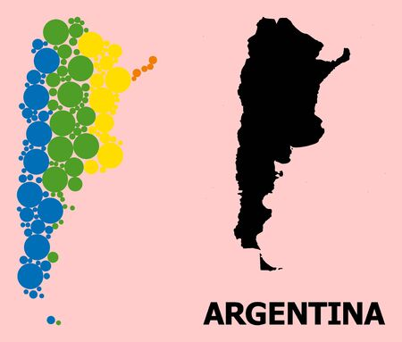 Spectrum vibrant mosaic vector map of Argentina for LGBT, and black version. Geographic mosaic map of Argentina is composed with randomized circle dots.