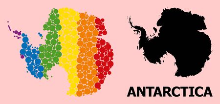 Rainbow vibrant mosaic vector map of Antarctica for LGBT, and black version. Geographic concept map of Antarctica is organized with random round spheric dots. Illustration