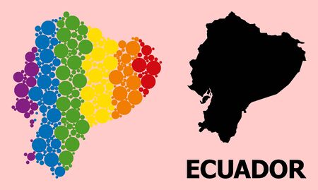Spectrum vibrant collage vector map of Ecuador for LGBT, and black version. Geographic collage map of Ecuador is done with random round spheric elements.