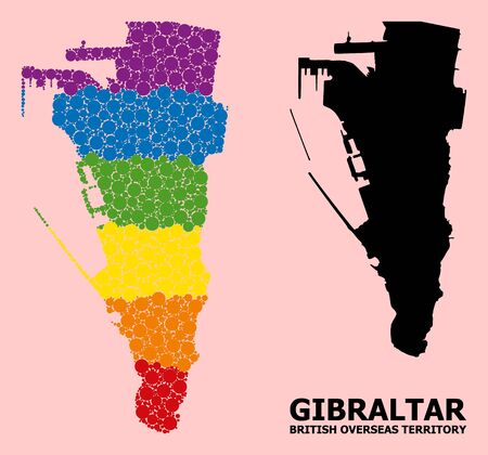 Rainbow vibrant pattern vector map of Gibraltar for LGBT, and black version. Geographic concept map of Gibraltar is created from random round spheric spots.