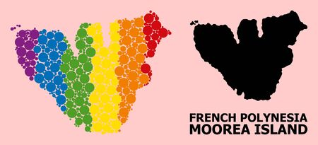 Rainbow colored pattern vector map of Moorea Island for LGBT, and black version. Geographic concept map of Moorea Island is combined with randomized circle elements.