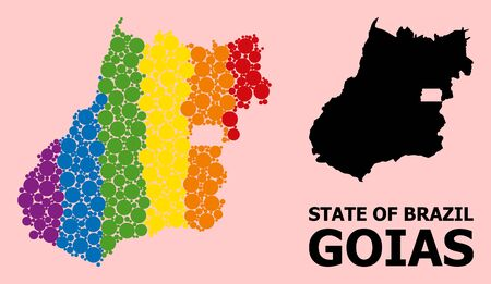 Spectrum vibrant mosaic vector map of Goias State for LGBT, and black version. Geographic mosaic map of Goias State is organized with random round spheric dots. Ilustração