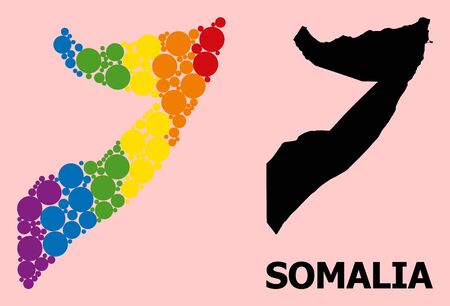 Rainbow vibrant pattern vector map of Somalia for LGBT, and black version. Geographic collage map of Somalia is constructed from random round spheric spots.