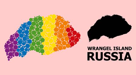 Spectrum vibrant mosaic vector map of Wrangel Island for LGBT, and black version. Geographic concept map of Wrangel Island is organized with random circle dots.