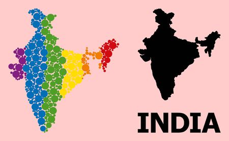 Rainbow vibrant collage vector map of India for LGBT, and black version. Geographic collage map of India is combined from random circle spots.