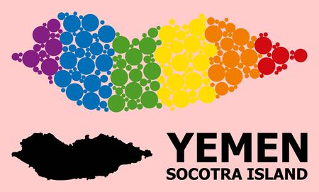 Spectrum colored mosaic vector map of Socotra Island for LGBT, and black version. Geographic mosaic map of Socotra Island is combined from randomized circle elements. Ilustração