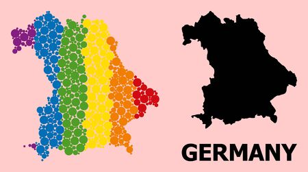 Rainbow colored mosaic vector map of Germany for LGBT, and black version. Geographic mosaic map of Germany is designed with scattered circle elements.