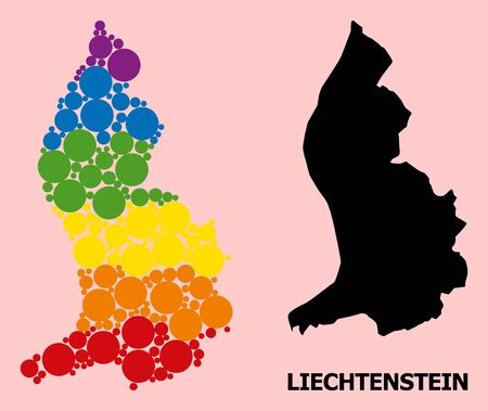 Spectrum colored mosaic vector map of Liechtenstein for LGBT, and black version. Geographic mosaic map of Liechtenstein is done with scattered circle elements.