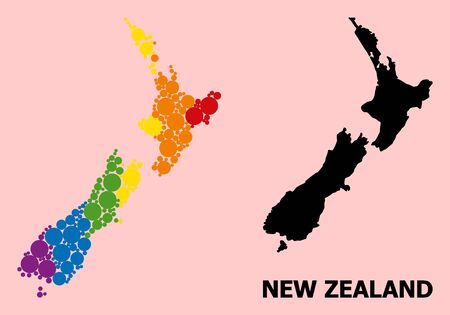 Rainbow vibrant collage vector map of New Zealand for LGBT, and black version. Geographic collage map of New Zealand is done from randomized round spheric dots.