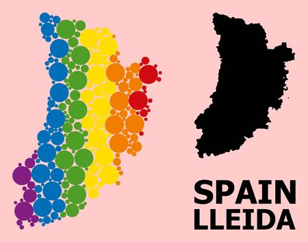 Spectrum colored mosaic vector map of Lleida Province for LGBT, and black version. Geographic concept map of Lleida Province is organized from randomized round spheric dots.