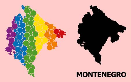 Rainbow colored mosaic vector map of Montenegro for LGBT, and black version. Geographic mosaic map of Montenegro is combined with randomized circle spots.