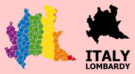 Rainbow vibrant mosaic vector map of Lombardy region for LGBT, and black version. Geographic mosaic map of Lombardy region is combined with scattered round spheric dots.