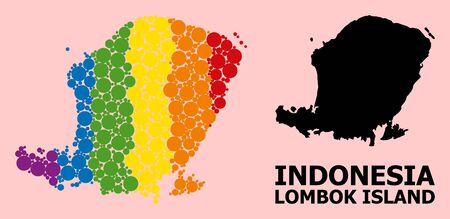 Rainbow vibrant collage vector map of Lombok Island for LGBT, and black version. Geographic collage map of Lombok Island is constructed with scattered round spheric elements. Ilustração