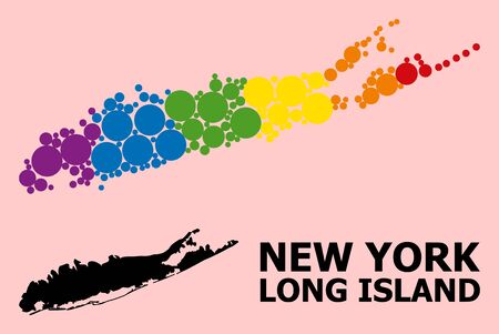Rainbow vibrant mosaic vector map of Long Island for LGBT, and black version. Geographic mosaic map of Long Island is done from random circle dots.