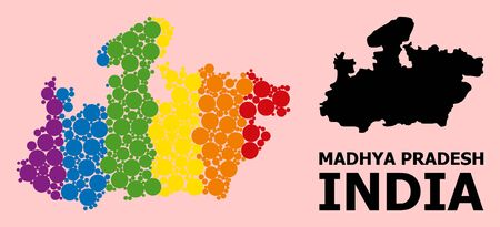 Rainbow vibrant collage vector map of Madhya Pradesh State for LGBT, and black version. Geographic concept map of Madhya Pradesh State is designed from scattered round spheric elements. Ilustração