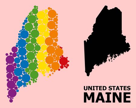 Spectrum vibrant collage vector map of Maine State for LGBT, and black version. Geographic concept map of Maine State is done with scattered circle elements.