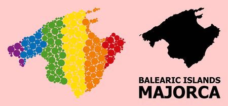 Rainbow colored mosaic vector map of Majorca for LGBT, and black version. Geographic concept map of Majorca is done with randomized circle spots. Ilustração