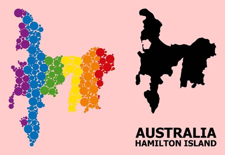 Rainbow vibrant collage vector map of Hamilton Island for LGBT, and black version. Geographic collage map of Hamilton Island is constructed from scattered round spheric dots.