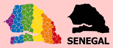 Rainbow colored collage vector map of Senegal for LGBT, and black version. Geographic concept map of Senegal is organized from scattered round spheric spots.