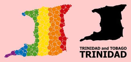 Rainbow vibrant collage vector map of Trinidad Island for LGBT, and black version. Geographic collage map of Trinidad Island is organized from random round spheric dots.