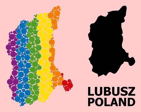 Spectrum colored collage vector map of Lubusz Province for LGBT, and black version. Geographic collage map of Lubusz Province is constructed with random round spheric elements. Ilustração